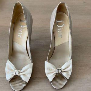 Dior Peep Toe Heels Pumps Bow Sz 37